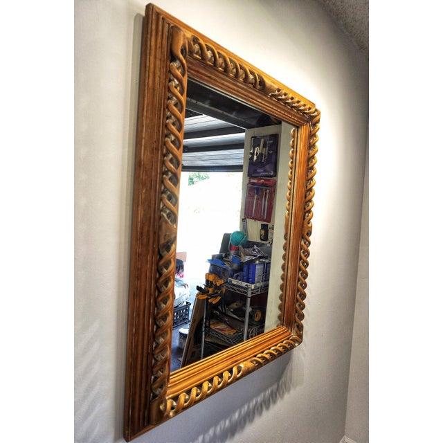 Vintage Mid-Century English Carved Walnut Barley Twist Mirror For Sale - Image 11 of 13