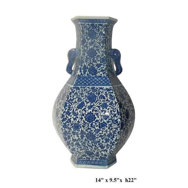 Blue & White Porcelain Hexagon Lotus Flower Vase For Sale - Image 7 of 7