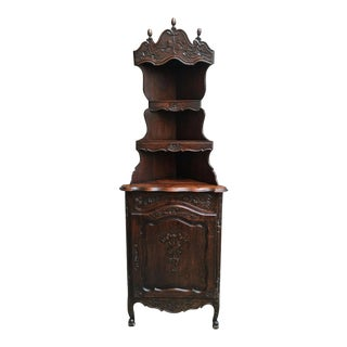 1900s Antique French Country Carved Dark Oak Corner Cabinet Display Shelf Bookcase For Sale