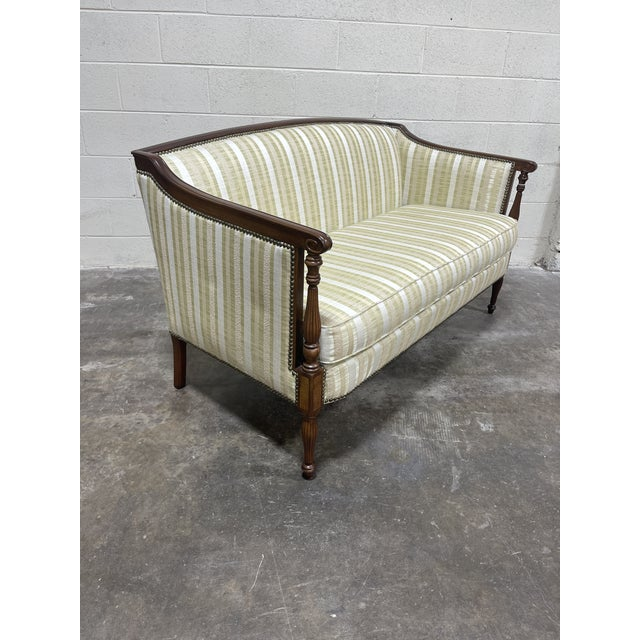 Hickory Furniture Co Sheraton Mahogany Settee For Sale - Image 10 of 10