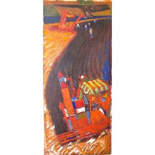 Mid Century Farm Scene Painting For Sale
