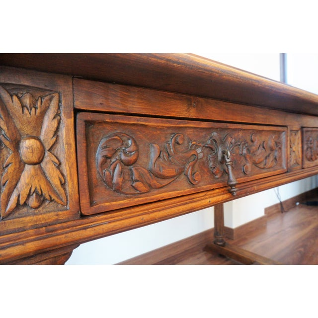 19th Spanish Refectory Table with Two Drawers, Desk Table - Image 9 of 9