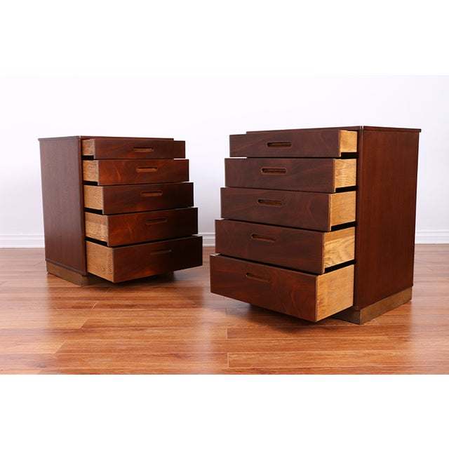 Mid Century Walnut Chests for Dunbar - Pair - Image 5 of 6