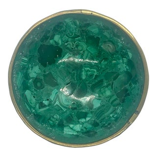 1970s Malachite and Brass Bowl For Sale