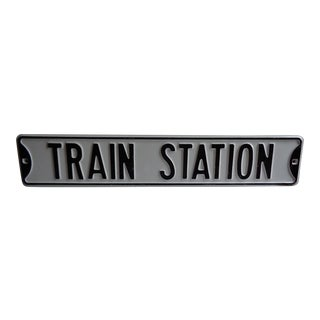 Vintage Black and White 'Train Station' Sign For Sale