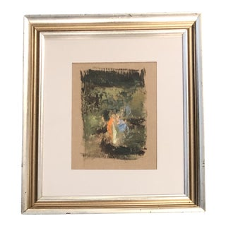 Vintage Mid Century Original Abstract Painting Vintage Frame For Sale