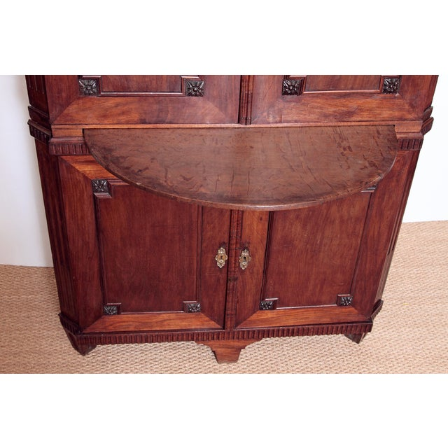 Mid 18th Century 18th Century Continental Mahogany Corner Cabinet For Sale - Image 5 of 10