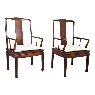 1970's Solid Mahogany Henredon High Back Caning Ming Style Arm Chairs With Cushions- a Pair-Hollywood Regency Chippendale Mid Century Brighton