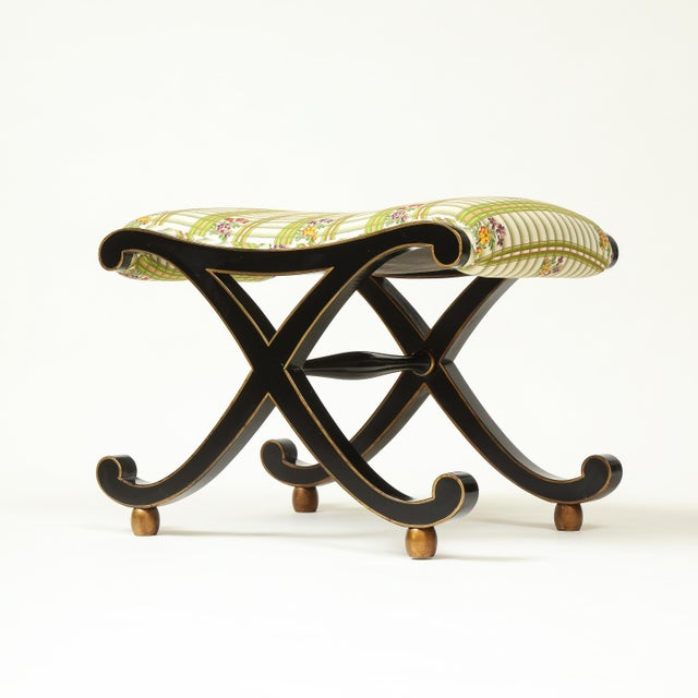 Late 20th Century Colefax & Fowler Black and Gilt X-Form Bench For Sale - Image 5 of 8