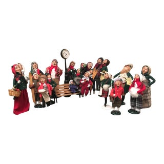 Vintage Christmas Caroler Figure Decorations - Set of 22 For Sale