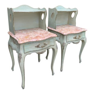 Italian Painted Nightstands With Marble Tops - a Pair For Sale