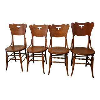 Antique Bentwood Oak Side Chairs - Set of 4 For Sale