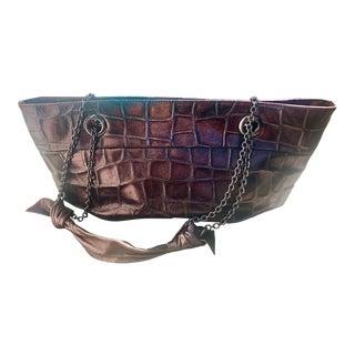 Rodo Metallic Croc Embossed Shoulder Bag For Sale