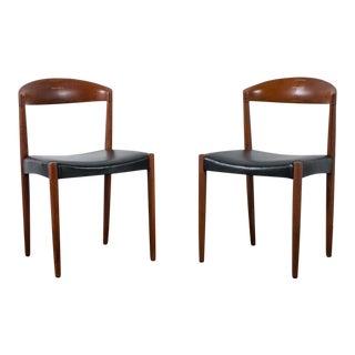 Harbo Solvsten Knud Andersen Teak & Leather Chairs - A Pair