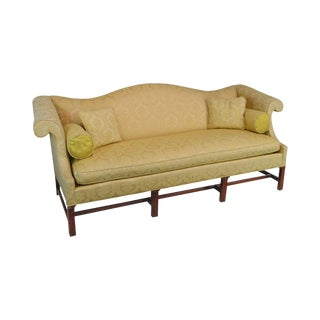 Southwood Mahogany Chippendale Style Yellow Upholstered Sofa For Sale