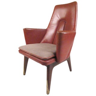 Vintage Modern Leather Back Lounge Chair For Sale