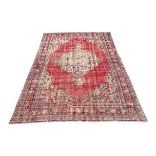 Turkish Antique Handwoven Distressed Red Wool Floor Rug