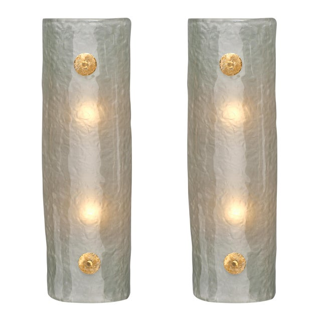 Frosted Light Blue Murano Glass Sconces For Sale - Image 10 of 10