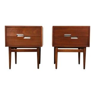Mid-Century Modern Nightstand / American of Martinsville Accord X-Inlay ~ a Pair For Sale