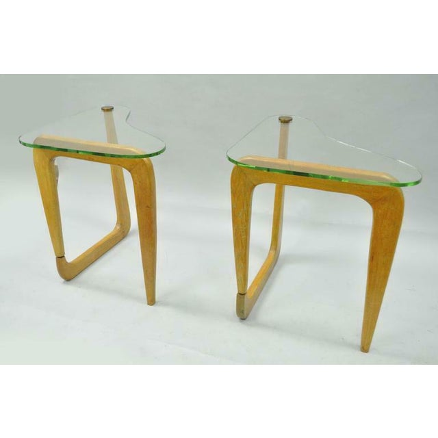 Noguchi Style Mid Century Cerused Oak Kidney Shape Biomorphic Side Tables A Pair Chairish
