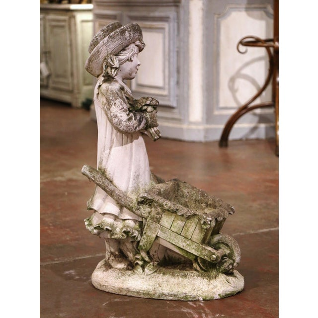 19th Century French Weathered Cast Concrete Garden Girl & Wheelbarrow Sculpture For Sale - Image 9 of 12