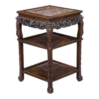 Carved Square Marble Topped Stand