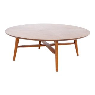 Merton Gershun for American of Martinsville Style Mid Century X Base Round Walnut Coffee Table For Sale