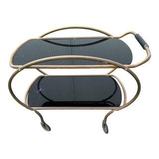 Vintage Art Deco Style Brass & Black Glass 2 Tier Tea Cart For Sale