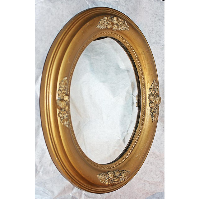 Circa 1890 1900 American Small Oval Mirror With Acorn Embellishments New Glass