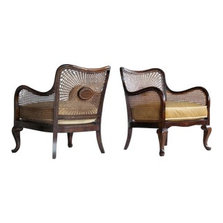 Pair of Danish Early 20th Century Caned Library Bergère Chair in Stained Birch For Sale