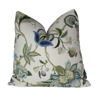 Jacobean P. Kaufmann Brissac Sapphire Pillow Cover For Sale