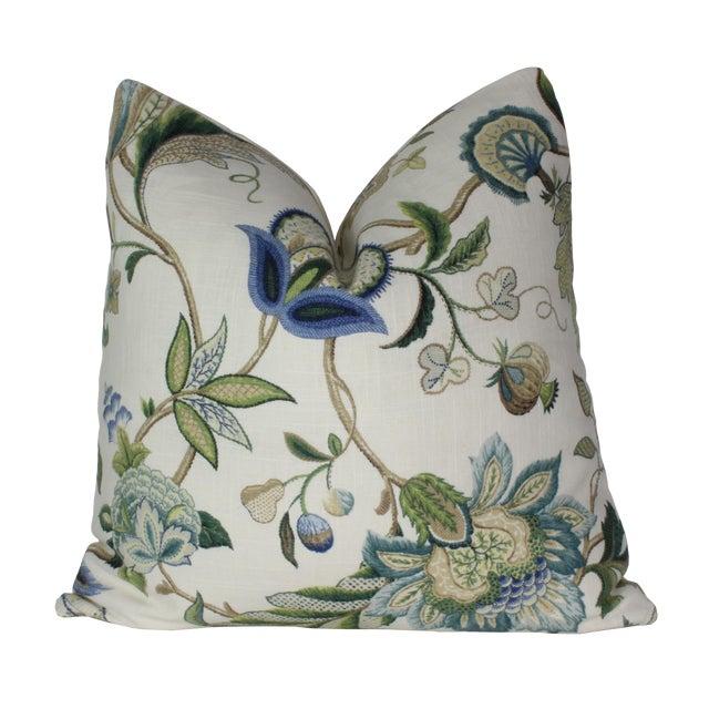 Jacobean P. Kaufmann Brissac Sapphire Pillow Cover For Sale