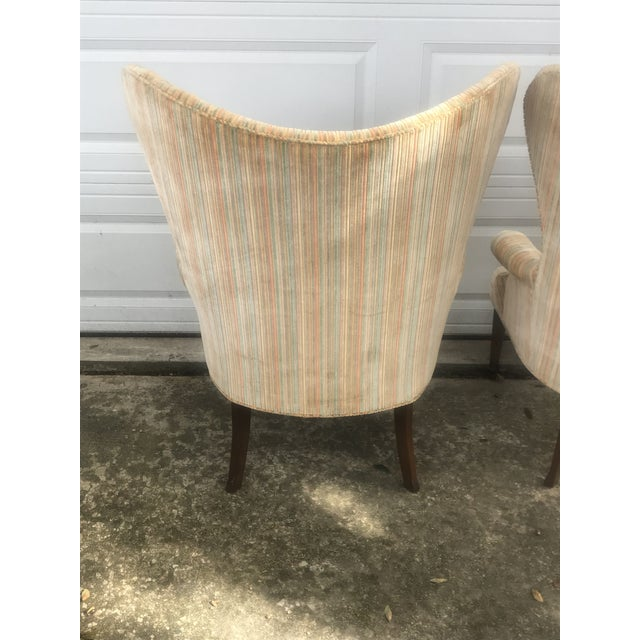 Mid-Century Modern Rainbow Velveteen Wingback Chairs - a Pair For Sale In New Orleans - Image 6 of 13