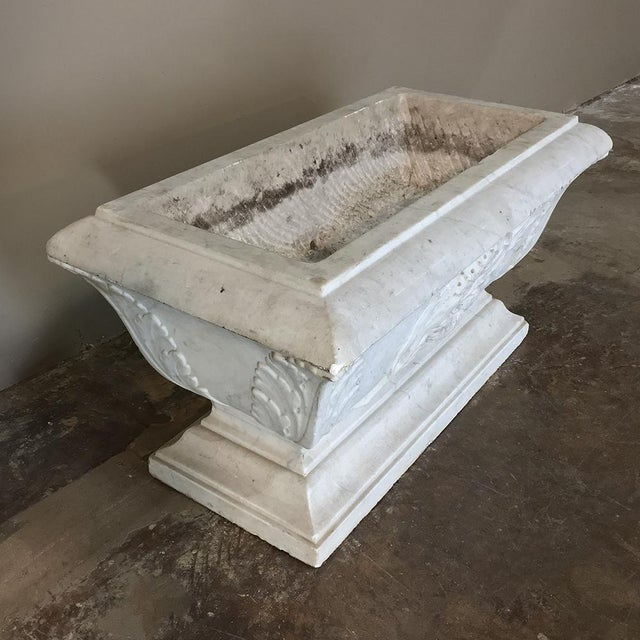 Stone 19th Century Louis XVI Carved Carrara Marble Neoclassical Planter For Sale - Image 7 of 11