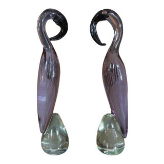 Vintage Murano Glass Flamingos-Pair For Sale