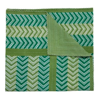 Chevron Hand Stitched Quilt, Queen - Green For Sale