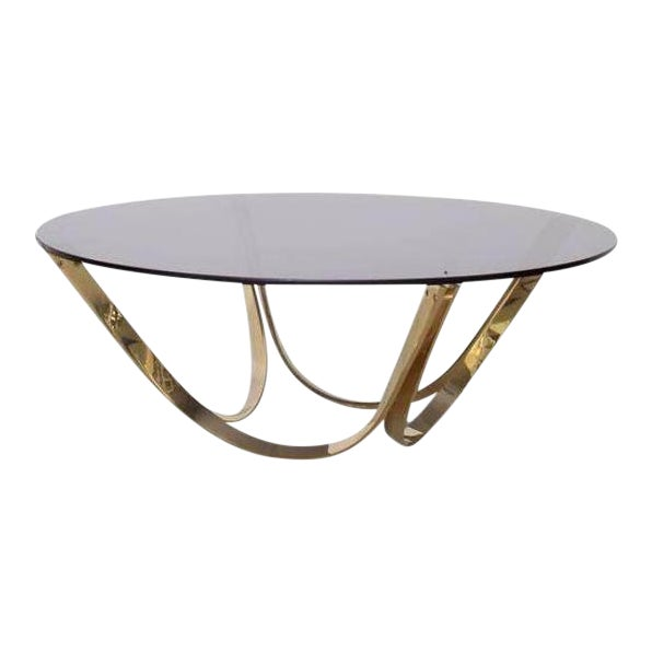 Brass and Smoked Glass Coffee Table by Tri-Mark, circa, 1971 For Sale