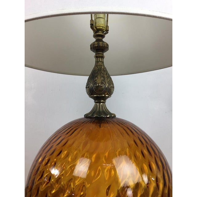 Vintage 1970s Amber Glass Table Lamp Chairish
