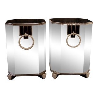Pair Of French Art Deco (C. 1920's) Sterling Silver Wine Coolers
