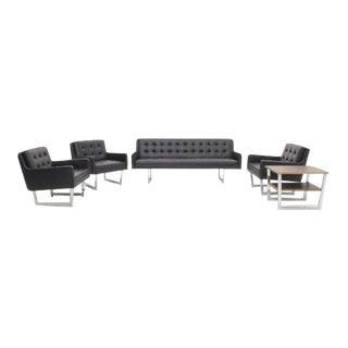 Patrician Mid Century Modern Black Vinyl Furniture Set- 5 Pieces For Sale