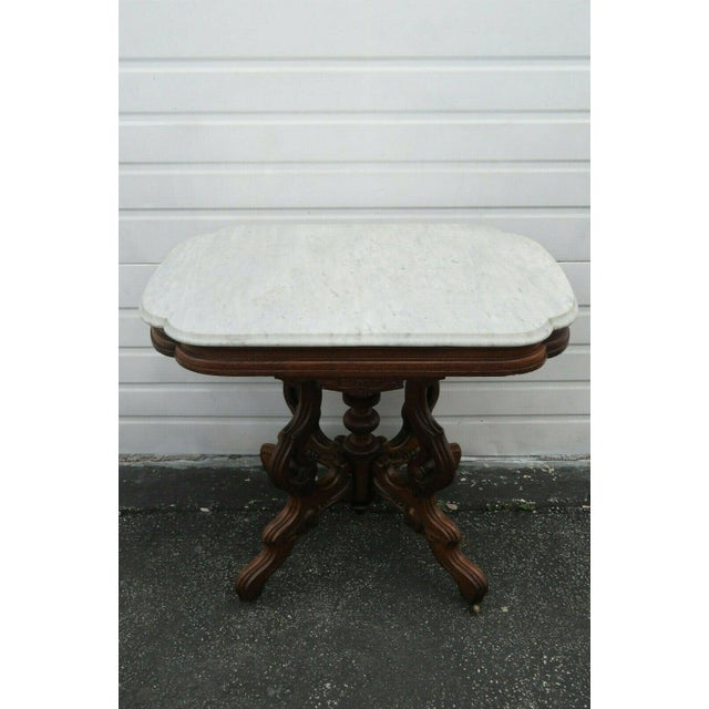 Victorian Eastlake Carved Marble Top Large Side End Center Table For Sale In Miami - Image 6 of 11
