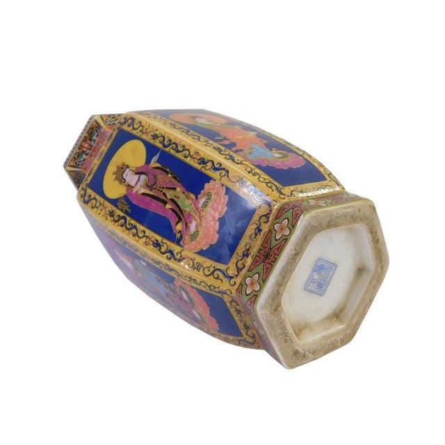 Hexagonal Porcelain Buddha Vase - Image 5 of 6