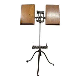 American Victorian Oak and Iron Dictionary Stand For Sale