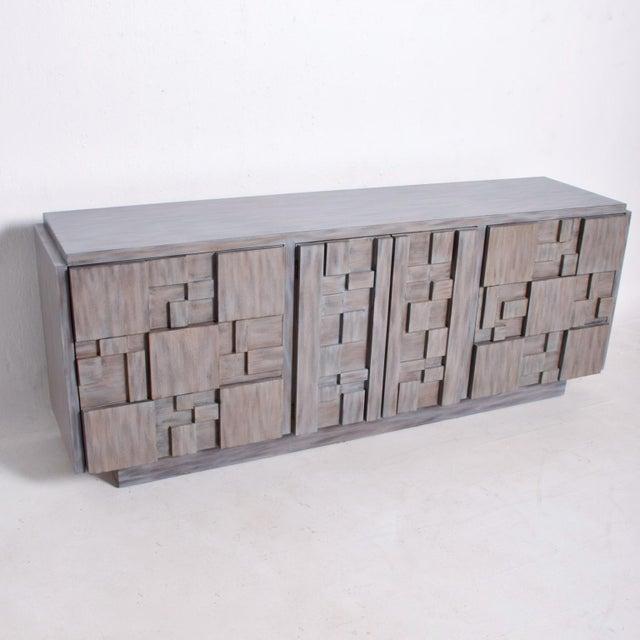 Mid-Century Modern Brutalist Dresser, Lane Patchwork Walnut Tiles, After Paul Evans For Sale - Image 10 of 10