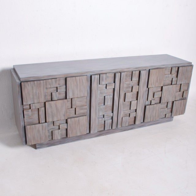 Mid-Century Modern Brutalist Dresser with Lane Patchwork Walnut Tiles For Sale - Image 10 of 10