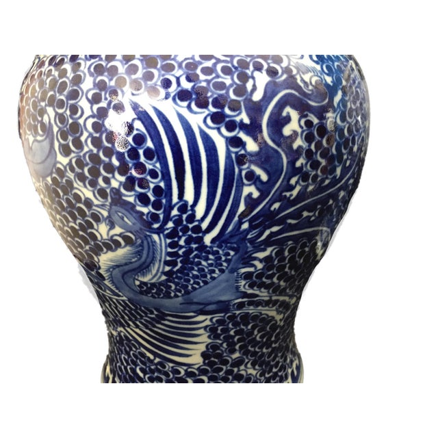 """Blue Blue & White Lidded Phoenix Ginger Jars - a Pair 14"""" H For Sale - Image 8 of 9"""