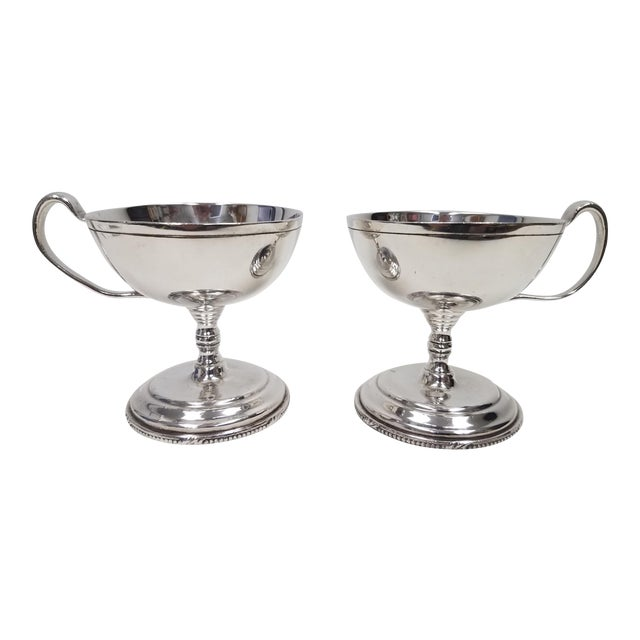 Antique English S Gladwin Silverplate Sorbet Dessert Cups - a Pair For Sale