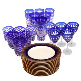 Copeland Spode England Plates With Clear Cut Glasses - 29 Pieces For Sale