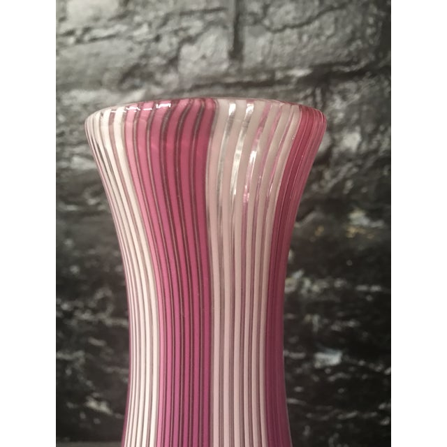 Glass Tall Mezza Filigrana Hot Pink and White Striped Murano Vase Attributed to Aureliano Toso For Sale - Image 7 of 13