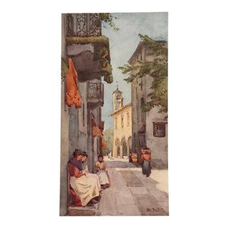 1905 Original Italian Print - Italian Travel Colour Plate - a Street at Orta For Sale